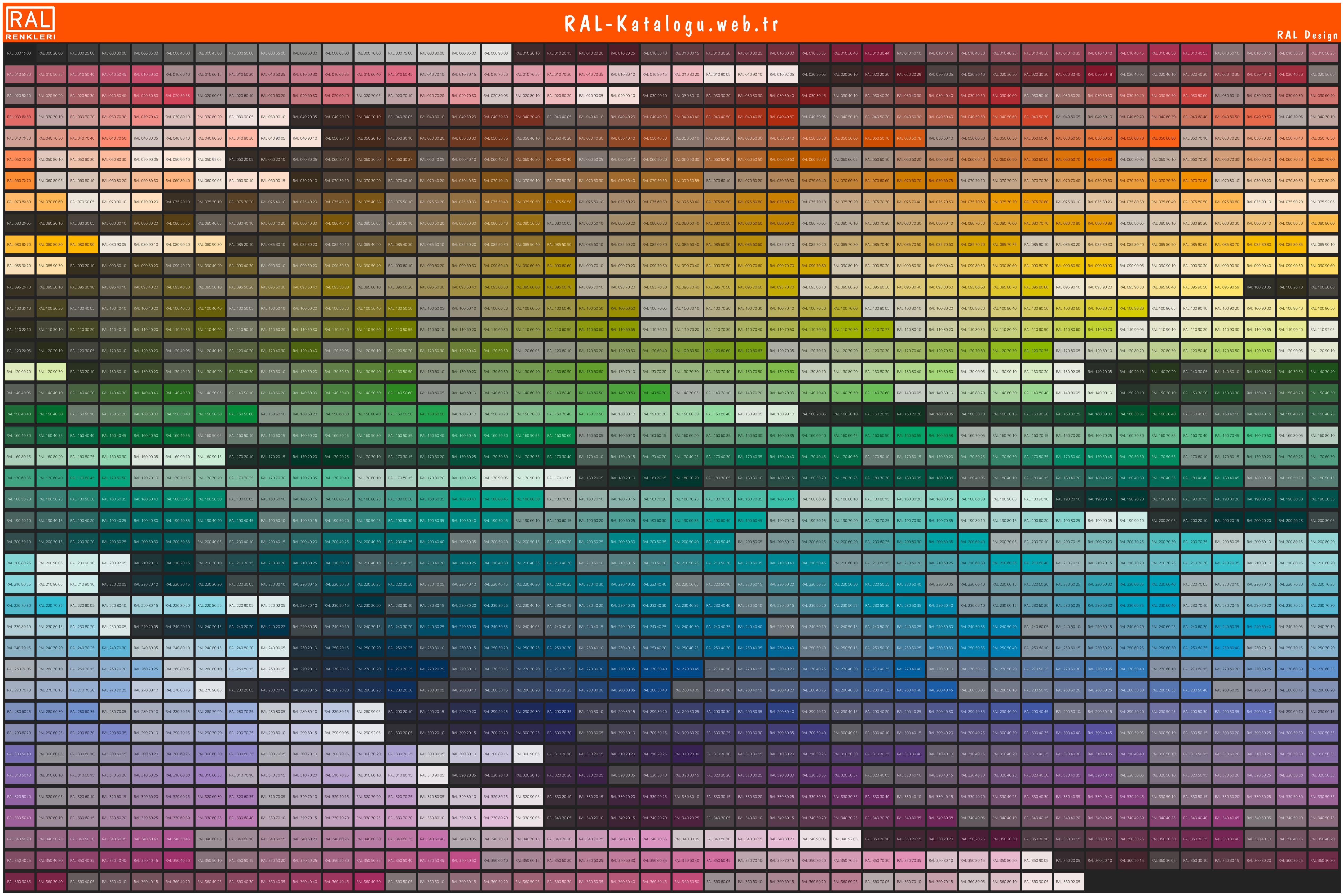 RAL Design kataloğu renkleri
